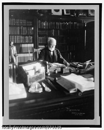 [Andrew Carnegie, 1835-1919, half length, seated behind desk, looking down at book, facing right; shelves filled with books in background] 