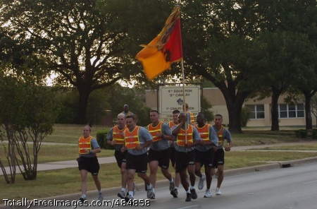 Col. Ryan Gonsalves, the commander of the 2nd Brigade Combat Team, 1st Cavalry Division runs with members of his staff while leading his Soldiers on a brigade run June 12 at Fort Hood, Texas. The Black Jack Brigade conducted the run in celebration of the Army's upcoming birthday. Photo Credit: Jun 16, 2008