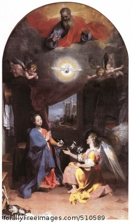 Annunciation Barocci, Federico 1592-96; Oil on canvas; S. Maria degli Angeli, PerugiaBarocci's altarpieces reveal his precise and rapid response to the instructions issued by the Council of Trent on religious art. The Mannerists may have had a refined intellectual quality but they were too often abstruse. Mannerism was now definitely swept aside. In its place came simple images with an obvious flow of them, free of mysteries or complications. Sacred episodes were set in the context of everyday reality. This can be seen from the way Barocci includes the Ducal Palace at Urbino in the background of this altarpiece in the Coli-Pontani Chapel of S. Maria degli Angeli in Perugia, and fills the picture with descriptive detail, including the sleeping cat in the foreground. The figures' sweetness of expression is a direct reference to Correggio.