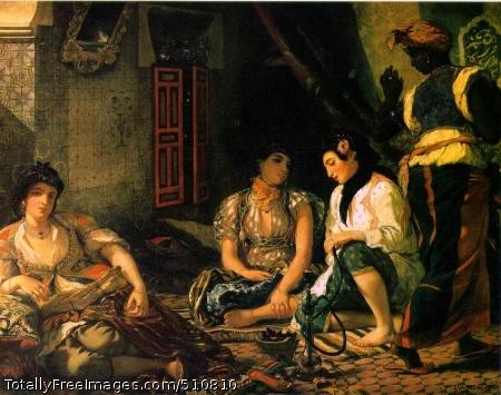 "Algerian Women in Their Apartments 1834 (170 Kb); Oil on canvas, (180 x 229 cm) (71 x 90 1/4""); Musee du Louvre, Paris"