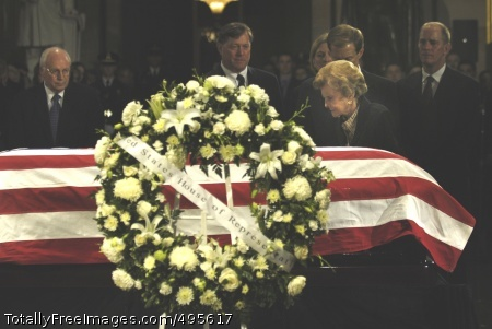 President Ford's Former first lady Betty Ford prays by the casket during a memorial service in the Capitol Rotunda in Washington, D.C., Dec. 30. Photo Credit: Dec 31, 2006