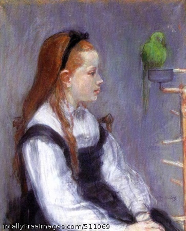 """Portrait de Mademoiselle M.T. (Young Girl with a Parrot) c. 1873 (150 Kb); Pastel on paper, 60 x 49.5 cm (23 5/8 x 19 3/8""""); Private collection, New York"""