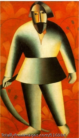 Reaper on Red Background 1912-13; Oil on canvas, 115 x 69 cm (45 1/4 x 27 1/8 in); Fine Arts Museum, Gorki