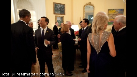 President Obama and President Hu of China Talk With Guests During A Reception President Barack Obama and President Hu Jintao of China talk with guests during a reception in the Yellow Oval Room in the Residence of the White House before the start of the State Dinner, Jan. 19, 2011. (Official White House Photo by Pete Souza)