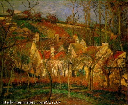 "The Red Roofs Pissarro, Camille 1877 (220 Kb); Oil on canvas, 54.5 x 65.6 cm (21 1/2 x 25 3/4""); Musee d'Orsay, ParisThis painting is certainly one of Pissarro's masterpieces and an illustration of some of the essential aims of Impressionism. It gives a dual sensation--of truth to a particular region and aspect of nature so exactly realized that the spectator seems transported to the scene; and of color that, while creating this effect, has a vibration and lyrical excitement of its own. Pissarro has been described as an unequal painter but if this was from one standpoint a shortcoming it had also an advantage in enabling him to attain exceptional heights from time to time. The low tones of his Orchard at Pontoise might lead one to think of him as one confined by a particular mood or capacity of vision yet in The Red Roofs, painted in the same year, the low tones are exchanged for brilliance of light, the grave utterance of the rural philosopher turns into song.The effect can be appreciated without analysis but it is enlightening as to his method and general approach to consider the picture in relation to the advice he gave at a later date to a young painter, Louis Le Bail, whose unpublished notes of conversation with Pissarro were summarized by John Rewald in his History of Impressionism: `Do not define too closely the outlines of things; it is the brushstroke of the right value and color which should produce the drawing'. A look at this painting shows how Pissarro made this his own practice. `Don't work bit by bit but paint everything at once by placing tones everywhere with brushstrokes of the right color and value...' This has an important bearing on the color harmony so splendidly carried out here. Color is not localized but is picked up like a melody in various parts of the canvas--the blue of the sky in the blue of doors and shadows, the red of the roofs in field and foreground earth--so that all comes into happy relation."