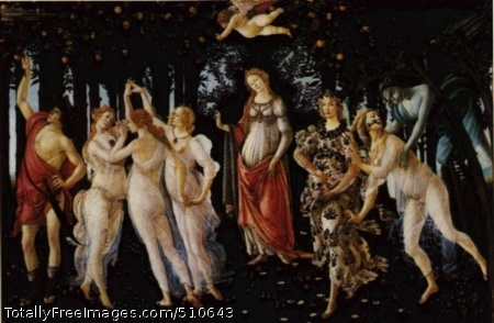 "La Primavera 1477-78; ""Allegory of Spring""; 315 x 205 cm; painted for the villa of Lorenzo di Pierfrancesco de' Medici at Castellonow in the Galleria degli Uffizi in Florence"