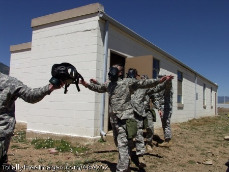 Exiting the Chamber Soldiers from the 1st Space Brigade exit the proper way from a gas chamber at Fort Carson's Range 72 on the morning of June 7, signaling the completion of their mandatory Chemical, Biological, Radiological and Nuclear training. Photo Credit: Jul 1, 2008