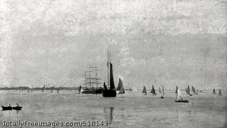 On the Delaware (Becalmed) A hazy summer day with large and small sailboats awaiting the start of a boat race on the calm waters of the Delaware River. In the lower left corner, two figures in a small boat row out into the river to watch the race. In the center there is a two masted sailboat with one sail up and a three masted sailboat with its sails down. A steamboat is visible in the distance. Artist: Eakins, Thomas, 1844-1916, painter. Medium: Oil on canvas. Smithsonian Control Number: IAP 06910281