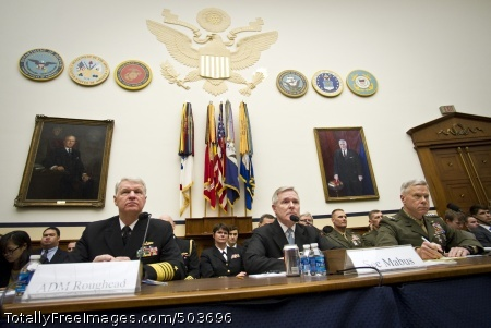 110301-N-5549O-019 WASHINGTON (March 1, 2011) Chief of Naval Operations (CNO) Adm. Gary Roughead, left, Secretary of the Navy (SECNAV) the Honorable Ray Mabus,  and Commandant of the Marine Corps Gen. James F. Amos appear before the House Armed Services Committee to testify and answer questions concerning the 2011 National Defense Budget request. (U.S. Navy photo by Mass Communication Specialist 2nd Class Kevin S. O'Brien/Released)