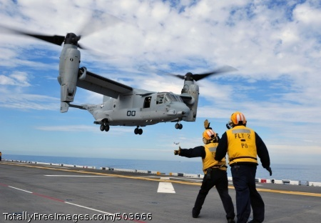 110301-N-KD852-162 PACIFIC OCEAN (March 1, 2011) An MV-22 Osprey assigned to Marine Medium Tiltrotor Squadron (VMM) 166 lands aboard the amphibious assault ship USS Makin Island (LHD 8). This is the first landing by an Osprey on a west coast amphibious assault ship since being introduced to the fleet. (U.S. Navy photo by Chief Mass Communication Specialist John Lill/Released)