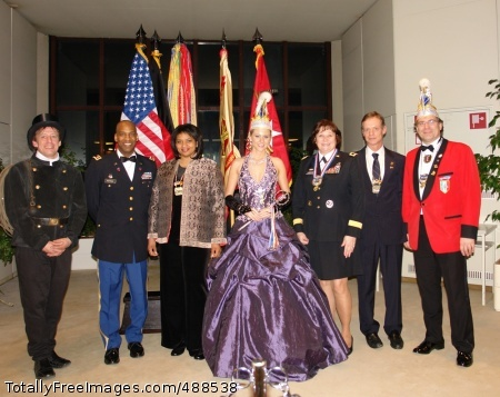 Mannheim Celebrates Mannheim's City (Fasching) Princess Jennifer I., center, attended the Mannheim Military Community's New Year's reception to present Brig. Gen. Lawrence and Lt. Col. Jeffrey Fletcher with her official 2007-2008 Fasching campaign medal. Photo Credit: Jan 17, 2008