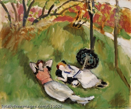 Two Figures Reclining in a Landscape 1921 (150 Kb); 15 x 18 3/8 in; Barnes Foundation Photograph by Charalambos Amvrosiou