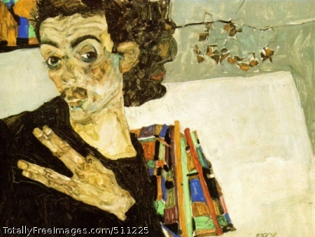 Self Portrait with black Vase 1911, oil on wood, Historiches Museum der Stadt, Wien/Vienna (100 Kb)(thanks to Harlan Wallach)