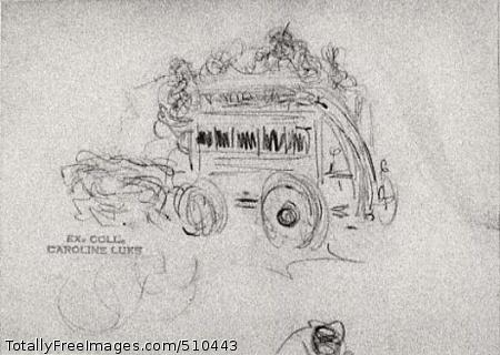 Horse Drawn Omnibus (Drawing) Artist: Luks, George, 1866-1933, painter. Medium: Oil. Smithsonian Control Number: IAP 63240034