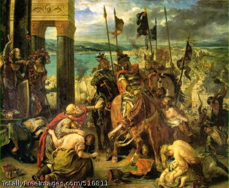 Entry of the Crusaders into Constantinople on 12 April 1204 1840 (240 Kb); Canvas, 411 x 497 cm (162 x 195 1/2 in); Musee du Louvre, Paris