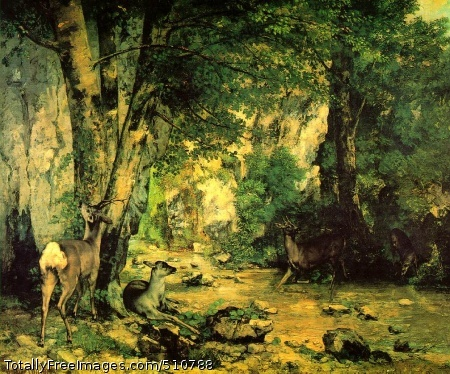 """A Thicket of Deer at the Stream of Plaisir-Fontaine 1866 (250 kB); Oil on canvas, 174 x 209 cm (5' 8 1/2"""" x 6' 10 1/4""""); Musee d'Orsay, Paris"""