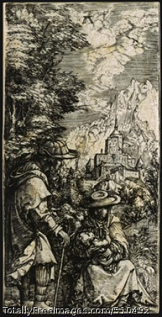 The Rest on the Flight into Egypt c. 1515-19; engraving, sheet: 9.5 x 4.7 cm; National Gallery of Art, Washington DC, USA