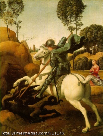 St. George Fighting the Dragon 1504-06 (220 kB); Oil on wood, 28.5 x 21.5 cm (11 1/8 x 8 3/8 in); National Gallery of Art, Washington