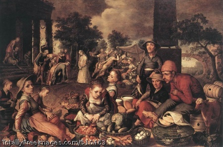 Christ and the Adulteress Aertsen, Pieter 1559; Oil on wood, 122 x 177 cm; Städelsches Kunstinstitut, FrankfurtIn the 16th century Antwerp rose to the position of the most significant trade and banking centre in Europe. In the area around this town there was an extensive cottage industry for the processing of English cloth and the production of glassware, soap, sugar, and other goods. The changing conditions in agriculture were almost equally revolutionary. The population increase at the beginning of the 16th century meant a greater demand for food, which had to be satisfied buy an agricultural system that was now no longer catering merely to itself but also to the market.After years of inadequate supplies the increase in food production was experienced by the general public as a great improvement - so much so, in fact, that it virtually demanded some form of artistic expression. Celebrating this new wealth in an almost solemn manner, the Amsterdam-born painter Pieter Artsen, who lived in Antwerp in 1555-56, depicted market scenes as part of biblical illustrations. However, instead of following traditional conventions and playing only a minor part in these illustrations, these market scenes dominate the biblical motifs so much that the latter are literally pushed into the background.In this painting Christ and the Adulteress, the biblical event takes place at the back, on the left, while the foreground is dominated by a market scene with peasants offering clay pots, baskets laden with fruit, vegetables such as onions, carrots, cucumbers and cabbages, as well as eggs, loaves of bread and large jugs of milk. It is this foreground which attracts our attention. There is also a peculiar mixture of time levels: the biblical scenario (with people wearing the clothes of antiquity) and the contemporary market scene (with sixteenth-century peasants) are intricately interwoven, as is shown in the Roman soldiers storming past the market stall. The same feature can be found in numerous other paintings of Aertsen.