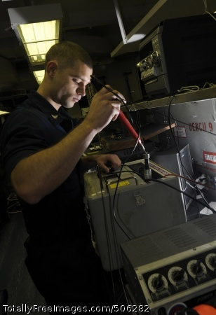 101213-N-7422B-164 PACIFIC OCEAN (Dec. 13, 2010) Aviation Electronics Technician 3rd Class Jon Hedin calibrates electrical equipment in the Aviation Intermediate Maintenance Department shop aboard the aircraft carrier USS Carl Vinson (CVN 70). Carl Vinson and Carrier Air Wing (CVW) 17 are on a three-week composite training unit exercise followed by a western Pacific deployment. (U.S. Navy photo by Mass Communication Specialist Seaman Zachary David Bell/Released)