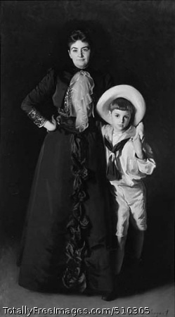 Portrait of Mrs. Edward L. Davis and Her Son, Livingston Davis Full-length group portrait of Mrs. Davis (1843-1916) and her son, Livingston (1882-1932). Mrs. Davis is standing in a frontal pose with her proper right hand at her hip and her proper left arm around the shoulders of her son. She is wearing a long, dark dress with ruffles down the front and lace ruffles pinned at her neck. Her son stands beside her, leaning against her. His proper right arm is around his mother's waist and he holds his mother's hand at his shoulder with his other hand. He is wearing a white sailor suit, with knickers above his knees. He is also wearing a wide-brimmed hat. Both mother and son look directly at the viewer. Artist: Sargent, John Singer, 1856-1925, painter. Medium: Oil on canvas. Smithsonian Control Number: IAP 02960109