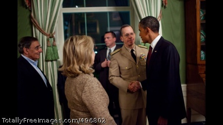 President Obama Shakes Hands with Admiral Mike Mullen President Barack Obama shakes hands with Admiral Mike Mullen, Chairman of the Joint Chiefs of Staff, in the Green Room of the White House, following his statement detailing the mission against Osama bin Laden, May 1, 2011. CIA Director Leon Panetta and Secretary of State Hillary Rodham Clinton are pictured at left. (Official White House Photo by Pete Souza)