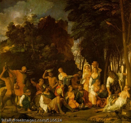 The Feast of the Gods 1514 (160 kB); Oil on canvas, 170 x 188 cm (67 x 74 in); National Gallery of Art, Washington