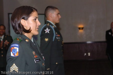 FORSCOM NCO/ Sgt. Lisa Morales stands in recognition as the Forces Command Noncommissioned Officer of the Year. Photo Credit: Aug 4, 2008