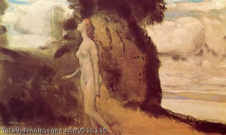 A Measure of Dreams A landscape with a nude female figure walking in an almost trance-like state with her eyes closed and one hand raised as if sleepwalking. She is seen almost in profile in the foreground of a loosely painted seaside landscape. Artist: Davies, Arthur B., 1862-1928, painter. Medium: Oil on canvas. Smithsonian Control Number: IAP 36120344