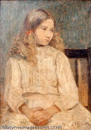 The Janitor's Daughter Portrait of a girl seated with her hands folded in her lap. She wears a white dress and red ribbons in her blond hair. Artist: Weir, Julian Alden, 1852-1919, painter. Medium: Oil on canvas. Smithsonian Control Number: IAP 02230064