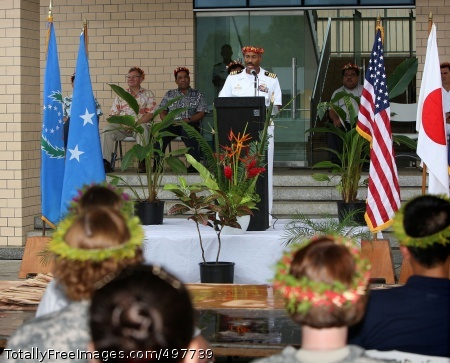 110714-O-YY999-039 POHNPEI, Federated States of Micronesia (July 12, 2011) Capt. Jesse A Wilson, mission commander of Pacific Partnership 2011 and commander of Destroyer Squadron 23, speaks during the closing ceremony for the Micronesian phase of Pacific Partnership 2011. Pacific Partnership is a five-month humanitarian assistance initiative that will make port visits to Tonga, Vanuatu, Papua New Guinea, Timor-Leste and the Federated States of Micronesia. (Royal Australian Navy Leading Seaman Imagery Specialist Helen Frank/Released)