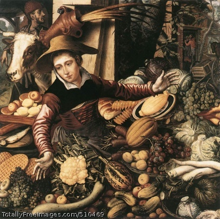 Market Woman with Vegetable Stall Aertsen, Pieter 1567; Oil on wood, 11 x 110 cm; Stiftung preußischer Kulturbesitz, Staatliche Museen, BerlinThe painting demonstrates a wide range of agricultural products, made possible by the improvements in production methods. Offering her fruits and vegetables, the woman is almost an appendage to her produce. Despite all exaggeration, the picture quite adequately shows the new economic prosperity of the time. At the same time, however, it still contains a background scene in genre style of embracing lovers in a stable, thus relating the painting to late medieval peasant satires. Peasants were regarded as lustful, sensuous and carnal by the middle classes.