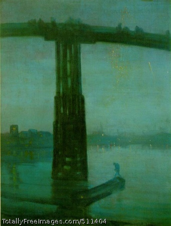 Nocturne in Blue and Gold: Old Battersea Bridge 1872-77; Oil on canvas, 68.3 x 51.2 cm; Tate Gallery, London