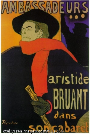 Ambassadeurs: Aristide Bruant 1892; Lithograph in six colors (poster), 141 x 98 cm; Private collection