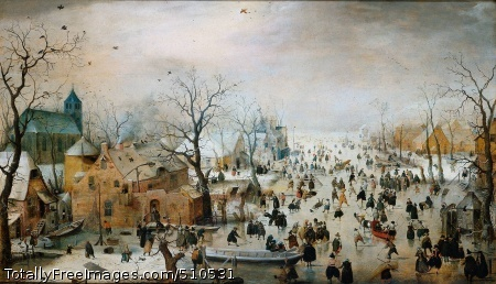 Winter Landscape with Iceskaters Avercamp, Hendrick c. 1608; Oil on panel, 87.5 x 132 cm; Rijksmuseum, Amsterdam, Netherlands(Another photograph)Crowds of people are depicted on the ice in a scene that stretches far into the distance. There is considerable variety among the figures, both in clothing and in what they are doing. Some of those portrayed are having fun, while others appear to be working. Avercamp has included several daring details, such as the couple making love, the bare buttocks and the man urinating. Winter Landscape with Ice Skaters painted around 1608, is one of the earliest large winter landscapes in the Rijksmuseum.Fun on the IcePeople are enjoying themselves in different ways. Of course, many are skating - on their own, in rows, or in pairs. Some people are playing kolf, a game resembling ice hockey. Others are playing with sleighs and sailing on the ice. For some the daily toil never stops. They are shown here engaged in their work. There is a reed cutter carrying a bunch of reeds; the eel fisher carries his trident over his shoulder and the fish in a net. Beside the brewery, recognisable from its signboard, a hole has been made in the ice so that water can be drawn out for brewing beer. A ragged figure is begging for bread.Eel fisherReed cutterBeggarOn slippery iceAvercamp has included several anecdotes in his winter landscape. We see a bare behind emerging from a small boat, as well as the figure of a man relieving himself against a tree, another in a ditch, and a couple making love in a hay stack. The way the painter has signed this work is also humorous: on a tumbledown building in the right foreground the name 'Haenricus Av' appears on the wall like graffiti, with a small figure beside it. It has been suggested that fun on the ice refers to the slipperiness of the human condition. This would imply that the painting was meant as a lesson on morality. But whether this was what Avercamp intended is impossible to tell.Bare behindsHouse with signatureA Winter painterAvercamp painted winter scenes throughout the year, partly based on sketches and partly from memory. Like other seventeenth-century artists he did not go outside to paint from nature, but worked indoors in his studio. He combined his sketches to form a single composition with the result that his perspective is not always accurate. In this painting the perspective is not quite right either. The trees in the foreground and the house in the centre appear to be at eye level, while the brewery in the foreground is seen from above, from a kind of bird's-eye view. A high view point of this type is characteristic of early seventeenth-century landscapes such as this scene on the ice.Brewery from aboveHouses at eye levelBruegelAvercamp's typically Dutch winter scene has Flemish predecessors. This appears from the composition as well as from the bird trap in the foreground. The bird trap with its cage on a small stick is an exact copy of a well-known painting of that time by Pieter Bruegel. Avercamp also appears to have emphasised the Flemish connection by painting the coat of arms of the city of Antwerp on the brewery building. The three-dimensional effect in this picture is remarkable. With its extreme depth Avercamp manages to include countless figures and anecdotal scenes.Bird TrapCoat of arms of AntwerpAtmosphereThe weather is hazy, the light filtered. The colours fade into the distance and shapes become vague. In this 'atmospheric perspective' depth is suggested by change of colour. The trees to the left and right of the small boat in the foreground emphasise the sense of depth and form a repoussoir. The viewer's gaze is carried into the distance, along the thickly frozen river. There are occasional red accents of colour. In the foreground a small dog appears to be chasing its own shadow. In fact this is the first painted version of the dog that Avercamp apparently placed in the wrong position. Over the years the overpainting has become transparent.Dog with sha