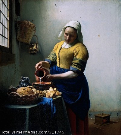 The Kitchen Maid Vermeer, Jan c. 1658; Oil on canvas, 45.5 x 41 cm; Rijksmuseum, AmsterdamWith quiet concentration a woman pours milk into a bowl. With her left hand she supports the can she is pouring from. Around her are various objects: a loaf of bread, a stoneware jug, a basket and a brass bucket. The woman is standing near the window so she can see what she is doing. The light falls on her hands; her silhouette is dark against the white wall. There is a fascinating play of light and shadow in this painting. This is one of Johannes Vermeer's genre pieces in which he establishes an intensely intimate atmosphere. Although the artist observes his model from nearby, she continues with her work, totally unperturbed.Subtle lightingThe lighting in Vermeer's Milkmaid is extraordinarily subtle. Light falls from the left through the window. Beneath and beside the window it is somewhat shadowy, but the woman is standing in full brightness. When you look carefully at the painting you see that Vermeer has introduced tiny points of light all over the canvas: on the edges of the jug and the bowl, but also on the fastening of her yellow dress, and on the bread in the basket. Vermeer paid great attention to details. He has painted tiny rough patches into the texture of the white plasterwork. Also, he gives careful thought to a nail set high in the white wall, as well as to the light entering through a cracked windowpane. The structure of various objects is expertly rendered: gleaming brass and crumbly bread.Nail with shadowCracked windowpaneBrass bucketTiny points of lightSimplicityClearly, this woman is a servant and no grand lady. Her dress is simple. The blue skirt is tucked up to save it from getting dirty. She wears green over-sleeves which partly protect her yellow bodice. On her head the maid wears a starched cap. She looks strong and sturdy. Vermeer achieves this effect by painting her from a low viewpoint. This lends a certain weight and dignity to this simple and every