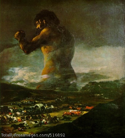 The Colossus 1808-12 (120 kB); Oil on canvas, 45 3/4 x 41 1/4 in; Museo del Prado, Madrid