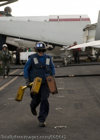 110105-N-6320L-051  PACIFIC OCEAN (Jan. 5, 2011) A Sailor runs chocks for an F/A-18 Hornet on the flight deck aboard the aircraft carrier USS Carl Vinson (CVN 70). Carl Vinson and Carrier Air Wing (CVW) 17 are on a deployment to the U.S. 7th Fleet area of responsibility. (U.S. Navy photo by Mass Communication Specialist Seaman Apprentice Nicolas Lopez/Released)