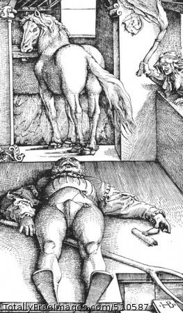 The Bewitched Groom 1544; Woodcut, sheet: 33.9 x 19.9 cmKupferstichkabinett, Staatliche Museen Preussischer Kulturbesitz, Berlin, Germanyor the Metropolitan Museum of Art, New York, USAor the National Gallery of Art, Washington DC, USA