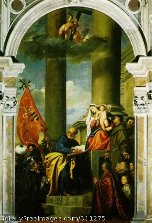 Madonna with saints and members of the Pesaro family Titian 1519-26 (170 Kb); Altar-painting: oil on canvas, 478 x 266 cm (188 1/8 x 104 3/4 in); Church of Sta Maria dei Frari, VeniceTitian was neither such a universal scholar as Leonardo, nor such an outstanding personality as Michelangelo, nor such a versatile and attractive man as Raphael. He was principally a painter, but a painter whose handling of paint equaled Michelangelo's mastery of draughtsmanship. This supreme skill enabled him to disregard all the time-honored rules of composition, and to rely on color to restore the unity which he apparently broke up. We need but look at Madonna with saints and members of the Pesaro family which was begun only some fifteen years after Giovanni Bellini's Madonna with saints to realize the effect which his art must have had on contemporaries. It was almost unheard of to move the Holy Virgin out of the center of the picture, and to place the two administering saints - St Francis, who is recognizable by the Stigmata (the wounds of the Cross), and St Peter, who has deposited the key (emblem of his dignity) on the steps of the Virgin's throne - not symmetrically on each side, as Giovanni Bellini had done, but as active participants of a scene.In this altar-painting, Titian had to revive the tradition of donors' portraits, but did it in an entirely novel way. The picture was intended as a token of thanksgiving for a victory over the Turks by the Venetian nobleman Jacopo Pesaro, and Titian portrayed him kneeling before the Virgin while an armored standard-bearer drags a Turkish prisoner behind him. St Peter and the Virgin look down on him benignly while St Francis, on the other side, draws the attention of the Christ Child to the other members of the Pesaro family, who are kneeling in the corner of the picture. The whole scene seems to take place in an open courtyard, with two giant columns which rise into the clouds where two little angels are playfully engaged in raising the Cross. Titian's contemporaries may well have been amazed at the audacity with which he had dared to upset the old-established rules of composition. They must have expected, at first, to find such a picture lopsided and unbalanced. Actually it is the opposite. The unexpected composition only serves to make it gay and lively without upsetting the harmony of it all. The main reason is the way in which Titian contrived to let light, air and colors unify the scene. The idea of making a mere flag counterbalance the figure of the Holy Virgin would probably have shocked an earlier generation, but this flag, in its rich, warm color, is such a stupendous piece of painting that the venture was a complete success.