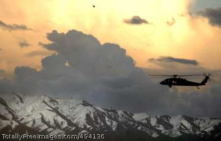 Beats Hiking Those A UH-60 Black Hawk helicopter flies near Bagram, Afghanistan, March 22.  Photo Credit: Apr 5, 2007