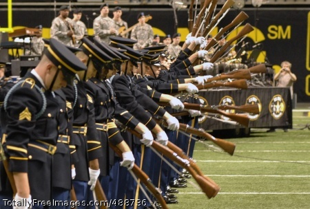 Army Drill Team The Army Drill Team performs during pre-game activities prior to the start of the All-American Bowl high school all-start football game in San Antonio. The team is part of the Army's 3rd U.S. Infantry 'Old Guard.' Photo Credit: Jan 5, 2008