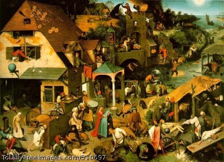 Netherlandish Proverbs 1559 (220 Kb); Oil on oak panel, 117 x 163 cm; Staatliche Museen zu Berlin - Gemaldegalerie, Berlin