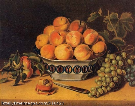 Still Life: Peaches and Grapes A still life with a large bowl of peaches in the center, a bunch of grapes on a vine to the right and a few peaches with leaves on the left. In front is a cut and partially peach and a small knife. Artist: Woodside, John Archibald, Sr., 1781-1852, painter. Medium: Oil on wood. Smithsonian Control Number: IAP 36120122