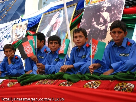 Happy Independence Afghan children participate in the Independence Day ceremonies. Photo Credit: Aug 27, 2007