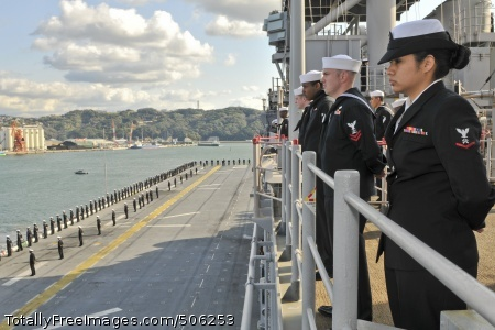 101214-N-9950J-085 SASEBO, Japan (Dec. 14, 2010) Sailors man the rails aboard the forward-deployed amphibious assault ship USS Essex (LHD 2) as the ship returns to Sasebo after a three-month patrol in the western Pacific Ocean. Essex is part of the forward-deployed Essex Amphibious Ready Group. (U.S. Navy photo by Mass Communication Specialist 2nd Class Greg Johnson/Released)
