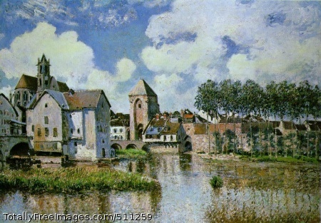 Moret-sur-Loing 1891 (220 Kb); Oil on canvas, 65 x 92 cm; Galerie H. Odermatt-Ph. Cazeau, Paris