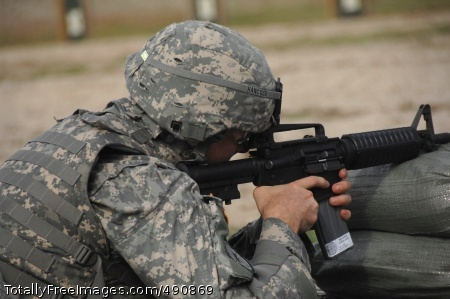 Zeroing Weapons Competitor Spc. Brian Hancock zeroes his weapon prior to qualifying with the M4 during the 2007 Department of the Army Noncommissioned Officer/Soldier of the Year Competition at Fort Lee, Va., Oct. 4.  Photo Credit: Oct 4, 2007