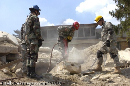 Soldiers Train for Soldiers search the rubble for 'survivors' after the simulated detonation of a 10-kiloton nuclear device.  Photo Credit: May 23, 2007
