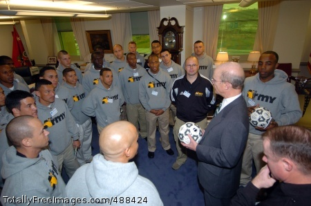 All-Army Soccer Team Members of the 2008 All-Army Soccer Team meet with Pete Geren, the 20th Secretary of the U.S. Army, in his office Jan. 22 at the Pentagon. The All-Army Team is training for the 2008 Armed Forces Men's Soccer Championship Tournament Jan. 31 through Feb. 5 at Marine Corps Air Station Cherry Point, N.C. Photo Credit: Jan 25, 2008